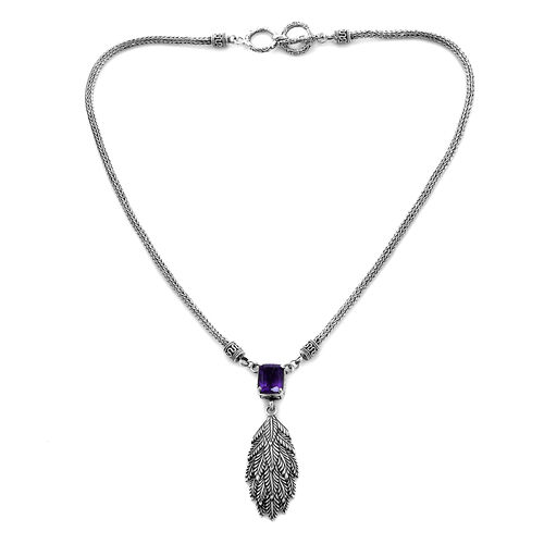 Royal Bali Collection - Amethyst (Cush) Necklace (Size 17) in Sterling Silver 3.11 Ct, Silver wt 24.75 Gms