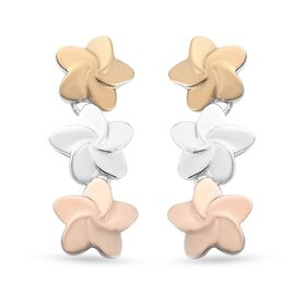 Yellow Gold, Rose Gold and Platinum Overlay Sterling Silver Flower Earrings (with Push Back), Silver