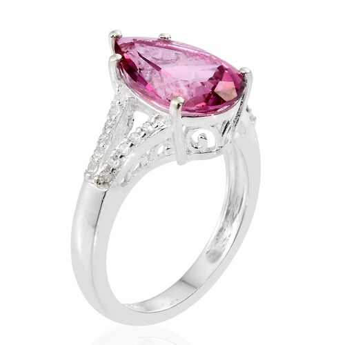 Mystic Pink Coated Topaz (Pear), Natural Cambodian Zircon Ring in Sterling Silver 5.250 Ct.