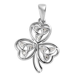 Diamond (Rnd) Floral Celtic Pendant in Platinum Overlay Sterling Silver 0.05 Ct.