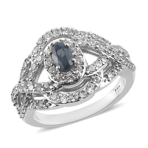 1.25 Ct AA Narsipatnam Alexandrite and Zircon Halo Ring in Platinum Plated Sterling Silver