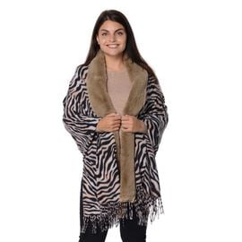 Zebra Pattern Faux Fur Winter Shawl (Size 70x180 Cm) - Black, Pink and Khaki