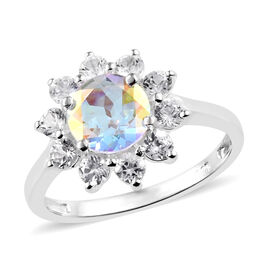 2.16 Ct Mystic Coated Topaz and Cambodian Zircon Halo Ring in Sterling Silver
