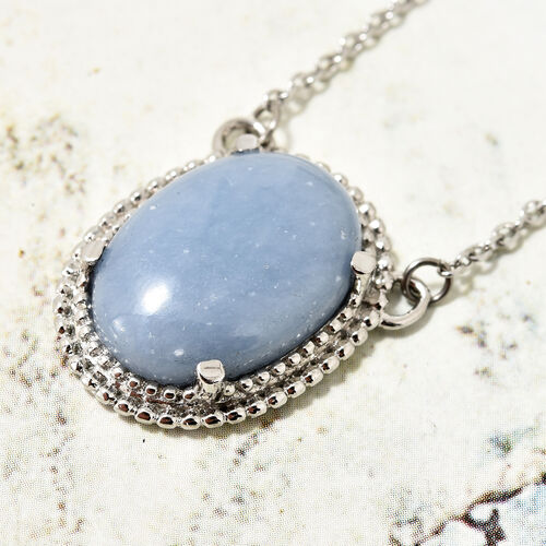 Mexican Angelite (Ovl) Necklace (Size 20) in Silver Bond 10.500 Ct