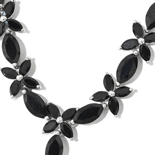 Boi Ploi Black Spinel (Pear) Floral Necklace (Size 18) in Platinum Overlay Sterling Silver 35.250 Ct.
