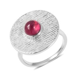 RACHEL GALLEY African Ruby (Rnd) Ring in Rhodium Overlay Sterling Silver 1.470 Ct, Silver wt 6.57 Gm