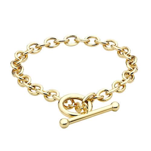 Italian Made- 9K Yellow Gold T-Bar Oval Belcher Bracelet (Size 7.75), Gold Wt. 5.60 Gms