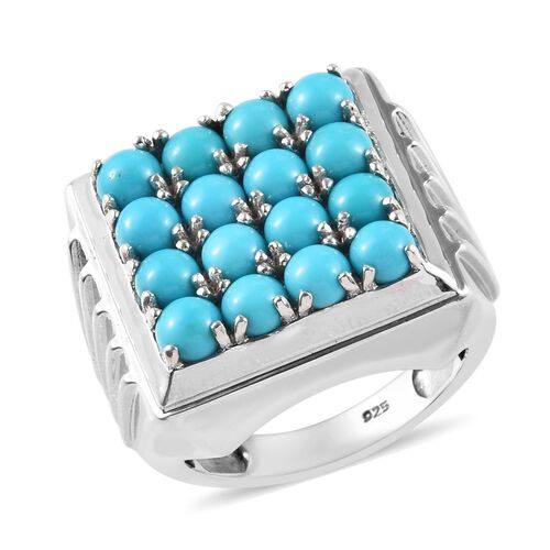 4.50 Ct Arizona Sleeping Beauty Turquoise Cluster Ring in Platinum Plated Silver 11.50 Grams