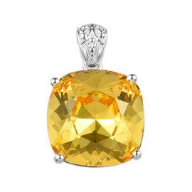 J Francis - Crystal From Swarovski Light Colorado Topaz Crystal (Cush) Solitaire Pendant in Sterling