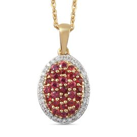 Red Sapphire and Natural Cambodian Zircon Cluster Pendant with Chain (Size 20) in 14K Gold Overlay S