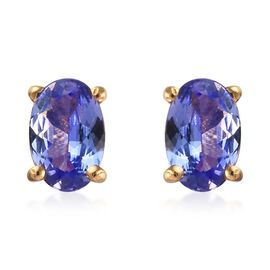 Tanzanite (Ovl) Stud Earrings (with Push Back) in 14K Gold Overlay Sterling Silver 1.500 Ct.