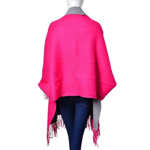 Designer Inspired - Pink Colour Longer Line Reversible Kimono with Tassels (Free Size)
