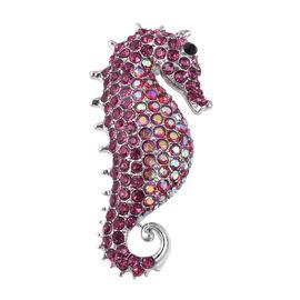 Multicolour Austrian Crystal Seahorse Brooch in Silver Tone