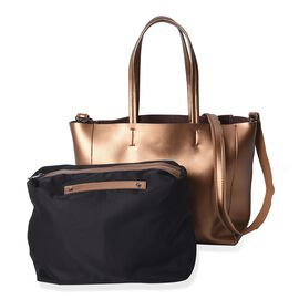 2 Piece Set - 100% Genuine Leather Tote Bag with Detachable Shoulder Strap and a Pouch - Metallic Go
