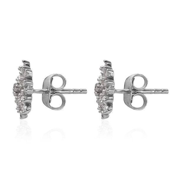 MP Diamond Earrings (with Push Back) in Platinum Overlay Sterling Silver 0.331 Ct