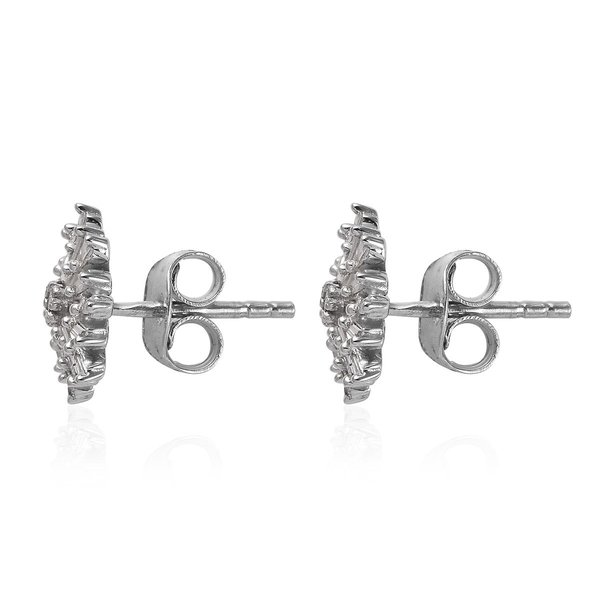 Diamond Earrings (with Push Back) in Platinum Overlay Sterling Silver 0.331 Ct