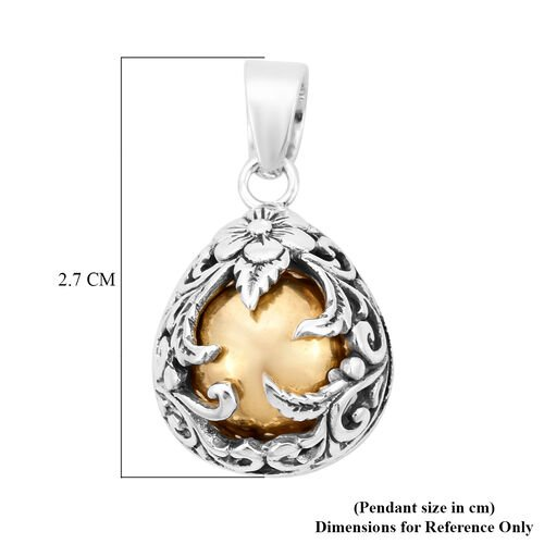 Royal Bali Collection - Yellow Gold Overlay Sterling Silver Floral Vine Pendant, Silver wt. 6.10 Gms