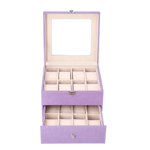 Two-Layer Velvet Watch Box with Glass Window on Top in Purple