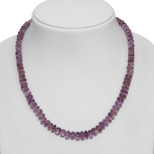 AAA Rose De France Amethyst (Rnd) Beads Necklace (Size 18) with Magnetic Clasp Lock in Rhodium Plated Sterling Silver 200.000 Ct.