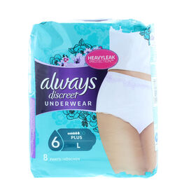 Always: Discreet Sensitive Bladder Pants Plus Large 8s