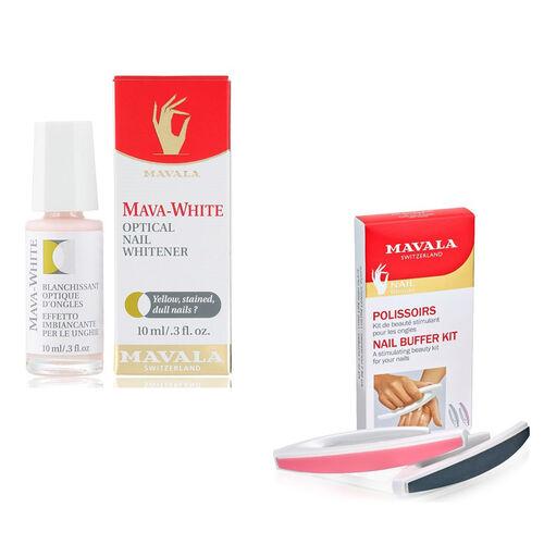 Mavala Stained Nails Kit- Buffer and Mava-White 10ml