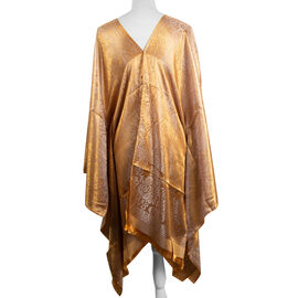 Designer Inspired-Brown and Grey Colour Floral and Paisley Pattern Poncho (Size 90x90 Cm)