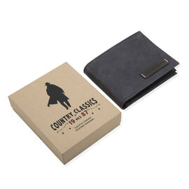 MCS Country Classics: 100% Genuine Leather Tri Fold Mens Wallet - Dark Blue and Brown