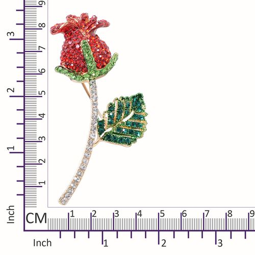 Ruby Colour and Multi Colour Austrian Crystal (Rnd) Rose Bud Brooch in Yellow Gold Tone