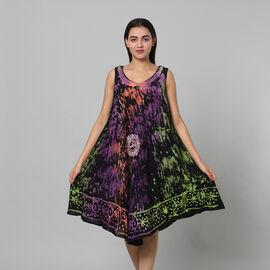 100% Viscose Splatter Pattern Tie Dye Women Dress (Size:100x128 Cm) - Black & Multi