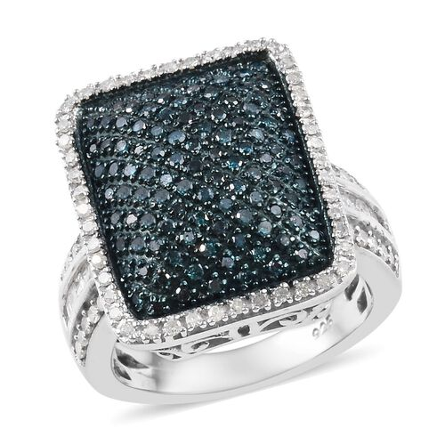 Blue and White Diamond (Bgt and Rnd) Cluster Ring in Platinum Overlay Sterling Silver 1.00 Ct, Silver wt 7.40 Gms
