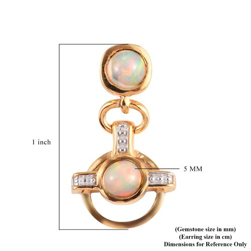 Ethiopian Welo Opal Dangling Earrings (with Push Back) in 14K Gold Overlay Sterling Silver 1.25 Ct.