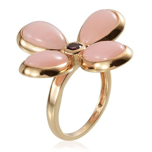 Peruvian Pink Opal (Pear) , Rhodolite Garnet Floral Ring in Yellow Gold Overlay Sterling Silver 9.500 Ct.