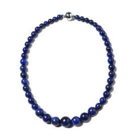 Lapis Lazuli (Rnd 7-17mm) Graduated Beads Necklace (Size 20) with Magnetic Lock in Rhodium Plated Sterling Silver 514.000 Ct
