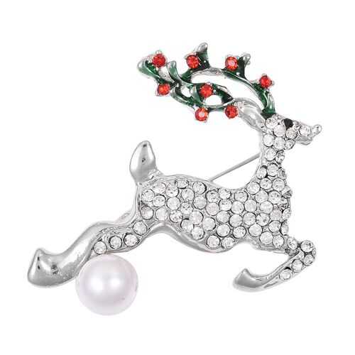 Multi Colour Austrian Crystal (Rnd), Simulated Pearl Reindeer Brooch in Silver Tone
