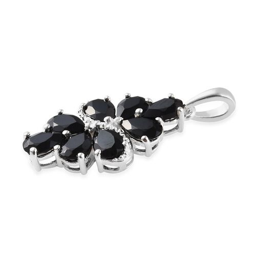Boi Ploi Black Spinel (Pear) Cluster Pendant in Sterling Silver 4.25 Ct.