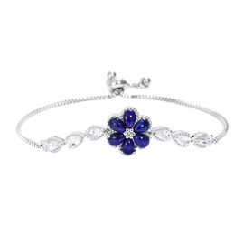Lapis Lazuli (Pear), White Topaz Floral Bracelet (Size 6.5 - 9.5 Adjustable) in Silver Plated 4.000
