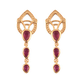 African Ruby Dangle Earrings (with Push Back) in 14K Gold Overlay Sterling Silver 1.36 Ct.