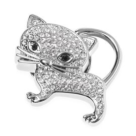 White and Black Austrain Crystal Kitty Brooch in Silver Plated