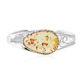 Extremely Rare AAA Lemon Amber Bangle (Size 7.5) in Sterling Silver, Silver wt 20.00 Gms