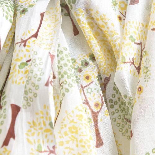 100% Cotton Yellow, Green and Off White Colour Tree Pattern Kaftan (Size 80x70 Cm)