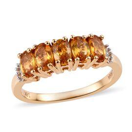 ILIANA 18K Yellow Gold AAA Yellow Sapphire (Ovl), Diamond (SI/G-H) Ring 1.50 Ct.