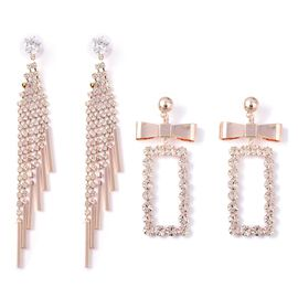 Set of 2 White Austrian Crystal and Simulated Diamond Drop Earrings in Rose Gold Tone