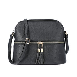 Designer Inspired - Ostrich Embossed Crossbody Bag with Tassel Zippers (size 26x10x23cm) - Black