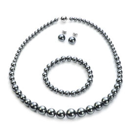 3 Piece Set - Peacock Shell Pearl Stretchable Bracelet (Size 7), Necklace (Size 20 with Magnetic Loc