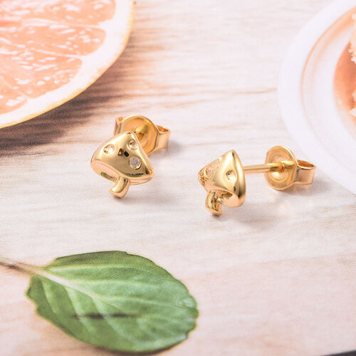RACHEL GALLEY - Natural Cambodian Zircon Mushroom Earrings (with Push Back) in Yellow Gold Overlay Sterling Silver