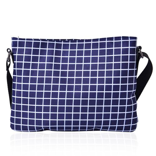 Navy and White Colour Checks Pattern Crossbody Bag with Adjustable Shoulder Strap (Size 28x21.5 Cm)
