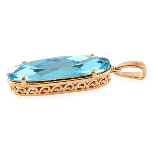 J Francis Crystal from Swarovski - Light Turquoise Colour Crystal Pendant in 14K Gold Overlay Sterling Silver