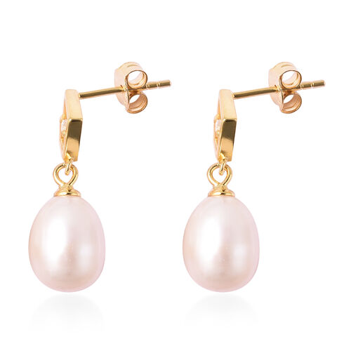 Freshwater White Pearl and Simulated Diamond Drop Earrings (with Push Back) in Yellow Gold Overlay Sterling Silver