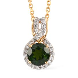 2 Piece Set -  Russian Diopside,  Zircon Main Stone With Side Stone Pendant and Chain in 14K Gold Ov