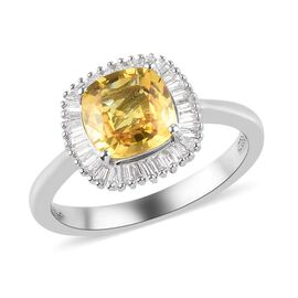 RHAPSODY 950 Platinum AAAA Loupe Clean Chanthaburi Yellow Sapphire and Diamond (VS/E-F) Halo Ring 2.